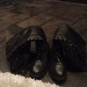 Black laced up boots